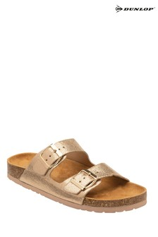 Dunlop Rose Gold Ladies Faux Leather Mule Sandals