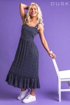 Dusk Navy Frilled Hem Spot Print Maxi Dress