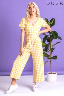 Dusk Yellow Gingham Check Jumpsuit