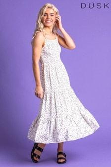 Dusk White Ditsy Spot Print Tiered Dress