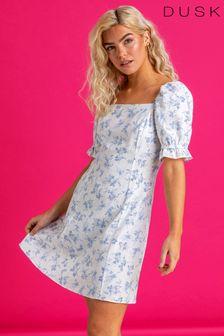 Dusk Blue Floral Square Neck Tea Dress