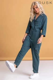 Dusk Green Utility Jumpsuit With Pockets