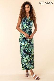 Roman Navy Palm Print Twist Waist Maxi Dress