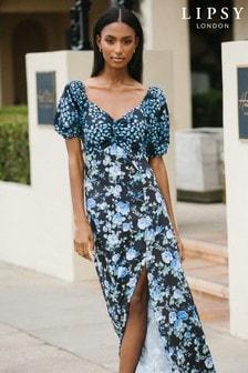 Lipsy Multi Floral Sweetheart Midi Dress