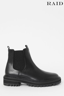 Raid Black Cleated Sole Ankle Boot