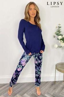 Lipsy Navy Floral Regular Jersey Printed Long Sleeve Pyjama Set