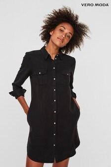 Vero Moda Black Lightweight Denim Shirt Dress