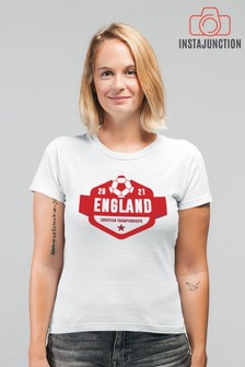 Instajunction White England Football Euros Supporter Women's T-Shirt