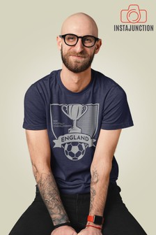 Instajunction Blue England Football Championship Euros Supporter Trophy Men's T-Shirt