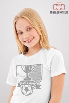 Instajunction White Scotland Football Championship Euros Supporter Trophy Kid's T-Shirt