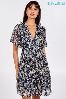 Blue Vanilla Blue Frill Short Sleeve Tiered Dress