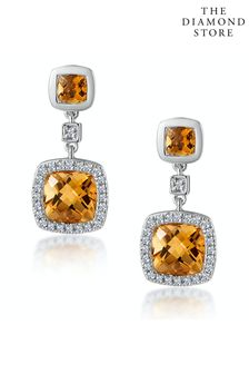 The Diamond Store Orange Stellato 2.30ct Citrine and Pave Diamond Earrings in 9K White Gold