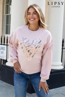 Lipsy Pink Heart Sweatshirt