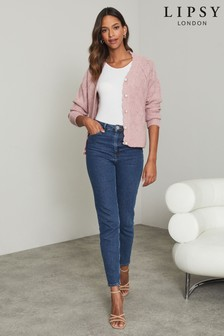 Lipsy Pink Knitted Scallop Pointelle Button Cardigan
