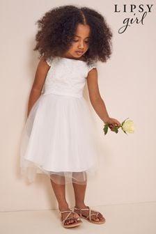 Lipsy Ivory Tulle Flower Girl Mini Dress