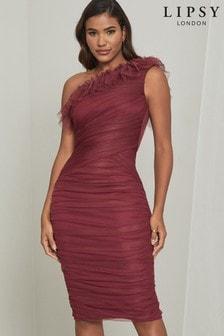 Lipsy Purple Ruffle One Shoulder Ruched Mesh Dress