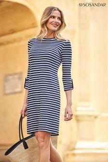 Sosandar Blue Stripe Jersey Shift Dress