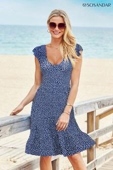 Sosandar Blue Fleck V Neck Sleeveless Tiered Fit And Flare Jersey Dress