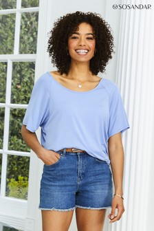 Sosandar Powder Blue Relaxed Fit Jersey Short Sleeve T-Shirt
