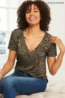 Sosandar Khaki Jersey V Neck Premium T Shirt