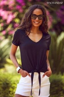 Sosandar Black Premium Jersey Tie Front T Shirt