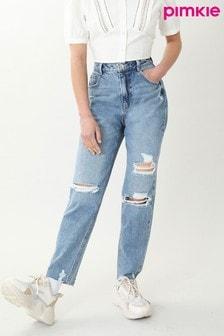 Pimkie Blue Ripped Mom Jeans