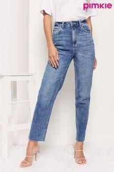 Pimkie Blue High Waisted Straight Leg Jean