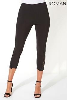 Roman Black Lace Insert Crop Stretch Trousers