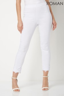 Roman White Cropped Stretch Trousers With Lace Hem