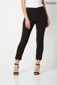 Roman Black Cropped Stretch Trousers With Lace Hem
