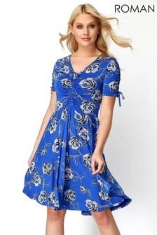 Roman Blue Rose Print Tea Dress