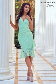 Sistaglam Blue Frill Hem Lace Dress