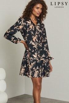 Lipsy Black Print Shirt Smock Dress