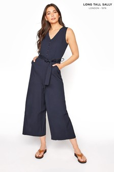 Long Tall Sally Blue Button Belted Crop Jumpsuit
