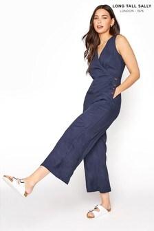 Long Tall Sally Blue Linen Mix V Neck Button Side Jumpsuit