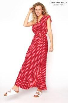 Long Tall Sally Red Spot Wrap Maxi Dress
