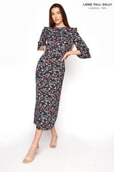 Long Tall Sally Blue High Neck Flute Sleeve Midi Dress