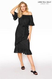 Long Tall Sally Black Linen Mix Bardot Frill Short Dress
