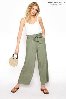 Long Tall Sally Green Linen Mix Tie Waist Crop Trousers
