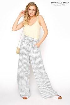 Long Tall Sally Neutral Tie Waist Stripe Crop Trousers