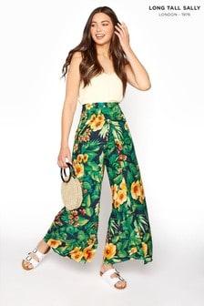 Long Tall Sally Green Tropical Wide Leg Waist Panel Trousers