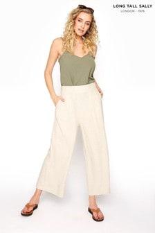 Long Tall Sally Neutral Linen Mix Shirred Crop Trousers