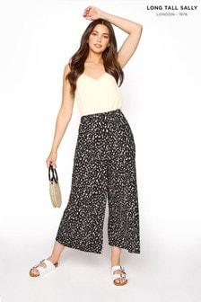 Long Tall Sally Black Printed Wide Leg Crop Trouser