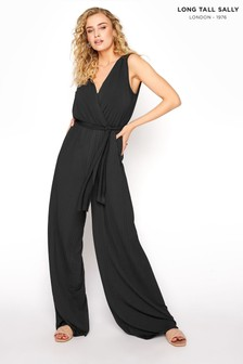 Long Tall Sally Black V-Neck Jersey Pleated Jumpsuit