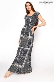 Long Tall Sally Blue Bardot Shirred Maxi Dress