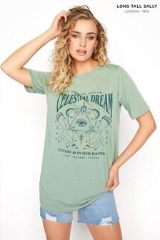 Long Tall Sally Green Slogan T-Shirt