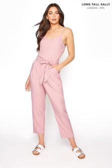 Long Tall Sally Pink Sleeveless Belted Jumpsuit