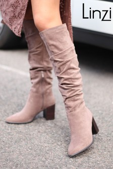 Linzi Brown Faux Suede Western Style Ankle Boot With Leather Stacked Heel