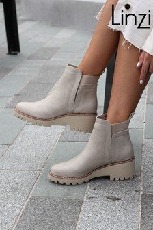 Linzi Cream Melonie Wedge Sole Pull On Ankle Boot