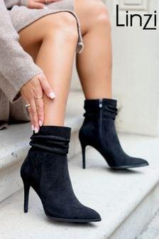 Linzi Black Eclipse Suede Ruched Pointed Stiletto Boot Heel